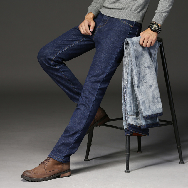 2019  Autumn Winter Jeans Warm Flocking Warm Soft New Men Activities More Thicken Warm Jeans Men Jeans Fit For -15 3