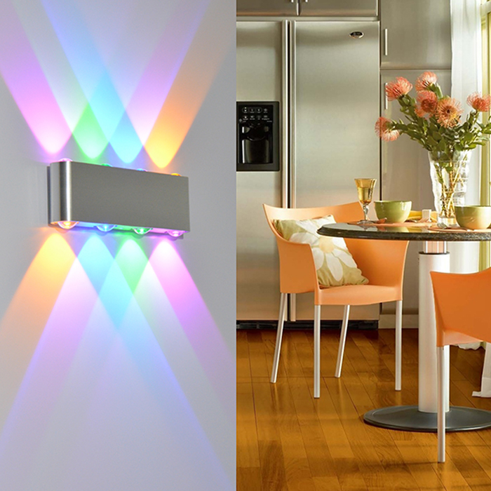 Luces de pared LED 8W Lámpara de pared interior de aplique de colores Iluminación moderna para el hogar Luz de pared montada en superficie