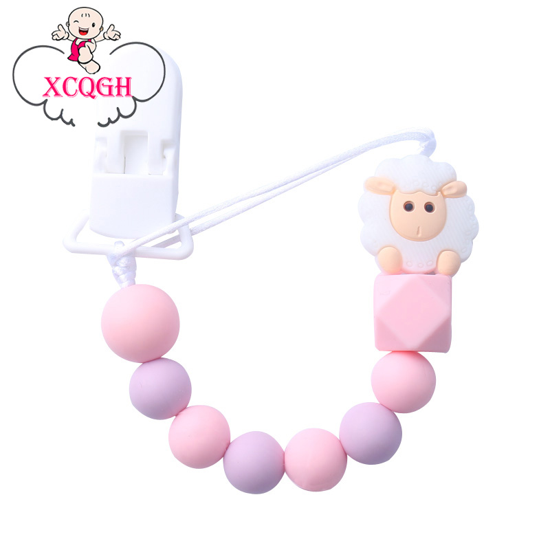 XCQGH New Baby Pacifier Clip Chain Cute Sheep Silicone Beads  Teething Pacifier Clips  For Baby Chew Toys