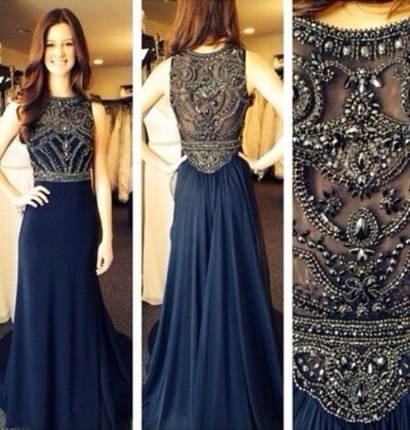 E468 Glamorous Y A Line O Neck Long Beaded Prom Dress Engagement Chiffon Dark Blue Evening 2017 In Rhinestone Birthday Dresses From