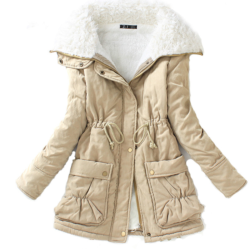 2018 Winter Cotton Fleece Coat Women Slim Snow Outwear Medium-long Wadded Jacket Thick Hooded Cotton Padded Warm Cotton   Parkas
