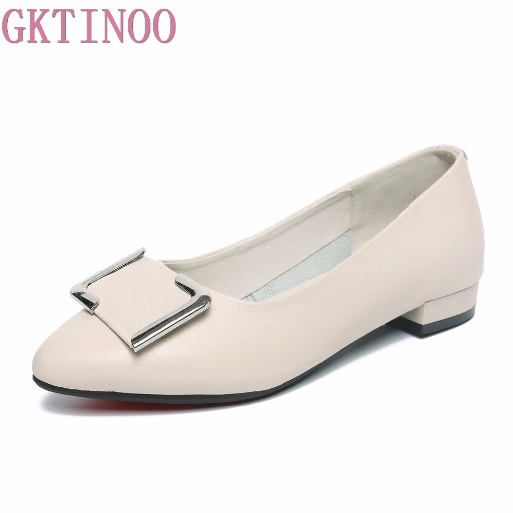 GKTINOO New Fashion Low Heels Genuine Leather Women Shoes Metal Design Women's Pumps Pointed Toe Office Ladies Shoes Big Size aiyuqi 2018 new 100% genuine leather women shoes big size 41 42 43 low heel pumps trend ladies shoes women dress shoes