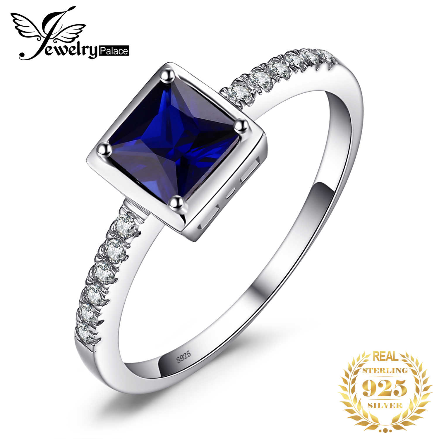 JewelryPalace Square 0.9ct Created Blue Sapphire Solitaire Ring 925 Sterling Silver Engagement Jewelry for Women Fashion Jewelry