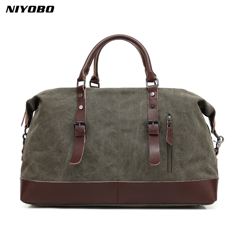 NIYOBO Canvas Leather Men Travel Bags Large Capacity Luggage Travel Tote Duffle Bags Weekend Bags bucket shoulder bag draw bar box vintage genuine leather cowhide large capacity travel luggage men duffle bags weekend bag large tote handbagli 2107
