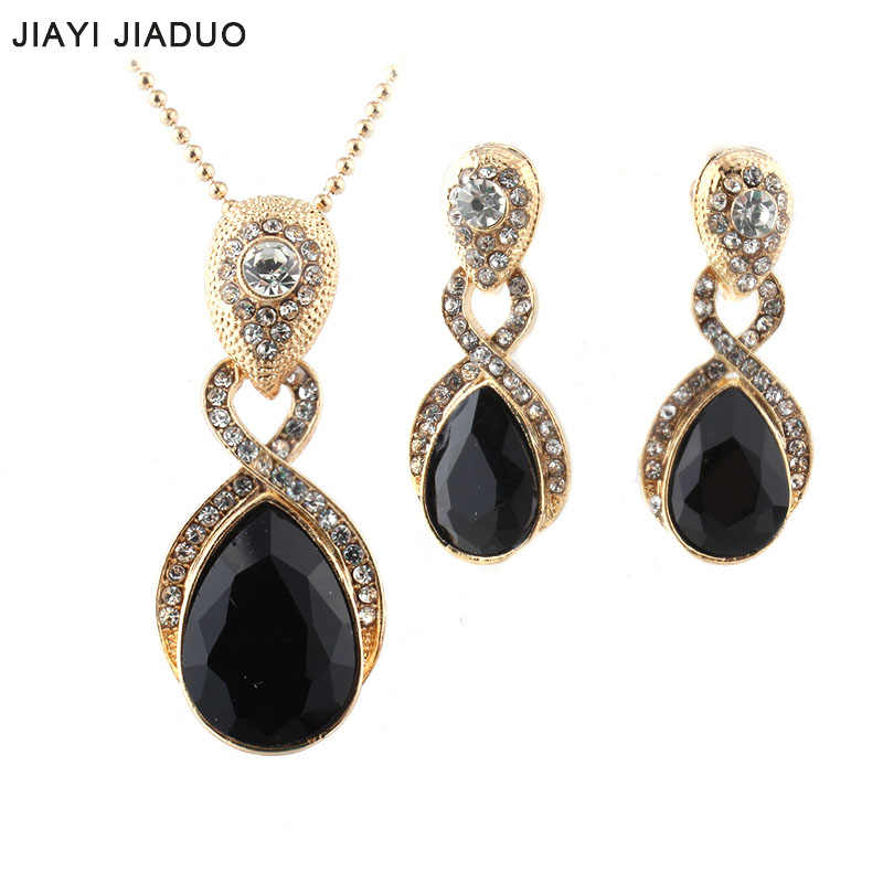 jiayijiaduo Wedding Jewelry  Imitation  Pendant Necklace earrings set Green crystal Crystal Bridal Jewelry Sets for women gift
