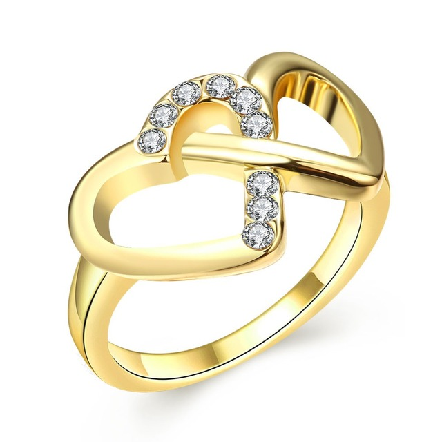 Gold Color Double Heart Ring For Women Finger Rings  Crystal Top Quality Wedding Femme Ring Jewelry For Women