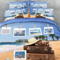 Goldeny 6 Parts Per Set Wish you were here Beach Holiday photos 3d bed Linen with Blanket cover