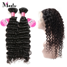 Meetu Pre Plucked 360 Lace Frontal with Brazilian Deep Wave Hair Bundles 2 Bundles with 360 Frontal 100% Human Hair Non Remy