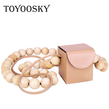 TOYOOSKY Mini Wooden Beads Chains Women Messenger Bags Small Bamboo Beading Crossbody Bag Box Phone Shoulder Female