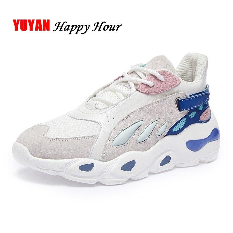 7adaeab25 Модные кроссовки Женская сетчатая обувь дышащая женская повседневная обувь  на плоской платформе кроссовки женщина Брендовая обувь