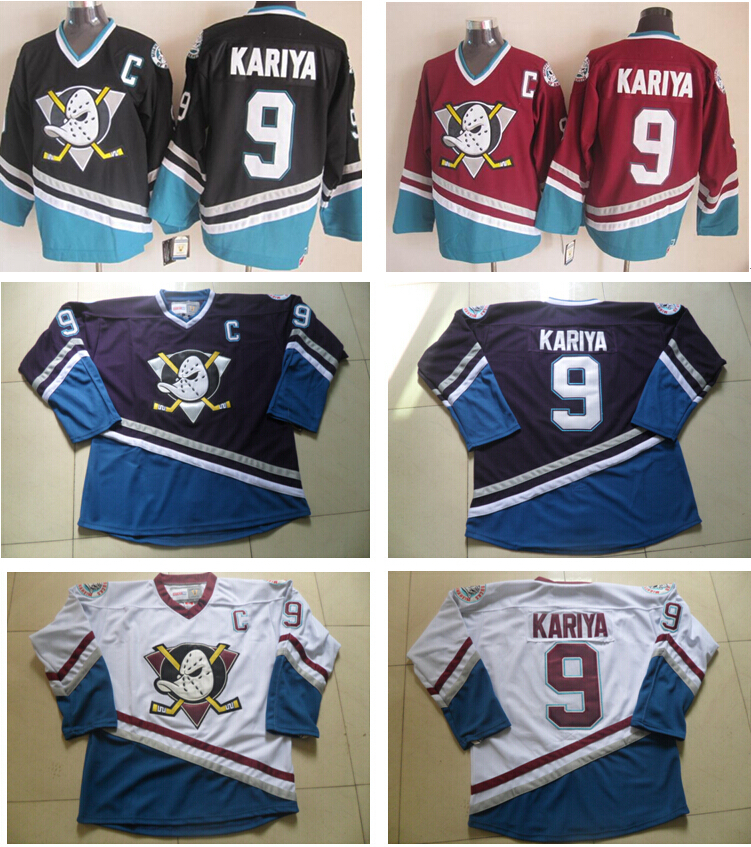 4f3a9106d ... Online Shop For Sale Cheap Paul Kariya Jersey Anaheim Mighty Ducks  Jersey 9 CCM Vintage Throwback ...