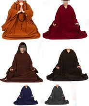 6color Unisex winter&spring zen meditation cape lay cloak polar fleece buddhist suits martial arts coat gray/brown/red/blue(China)
