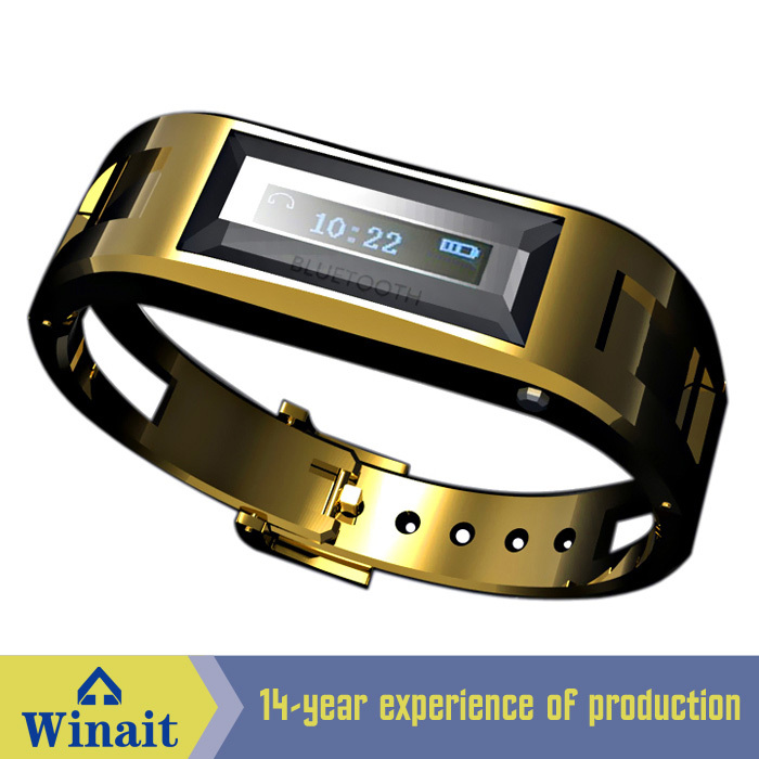 100 Hours Standby Steel <font><b>VIbrating</b></font> <font><b>Bluetooth</b></font> Watch <font><b>Bluetooth</b></font> <font><b>Bracelet</b></font> with <font><b>LCD</b></font> Display Shows Incoming Phone Call & Caller ID