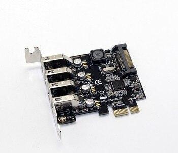 4 Port USB 3.0 5 Gbps PCI-Express X1 Karte Adapter HUB Unterstützung Low Profile Bracket