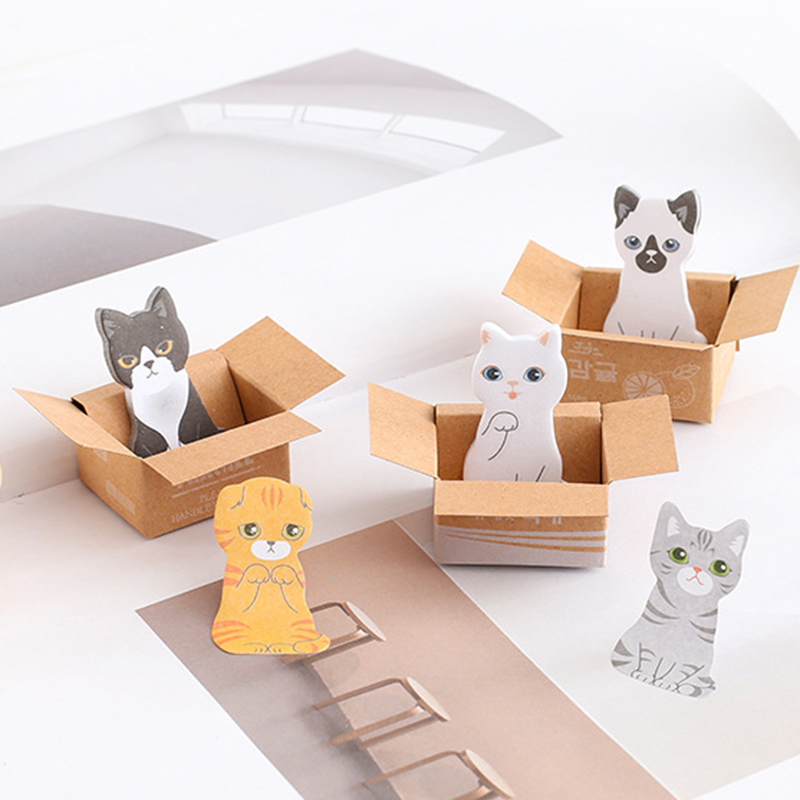 Creative Cute 3D Kawaii Cat Dog Box Stickers Student Gift Stationery Office School Supplies Memo Pad Scrapbooking 1 Pcs