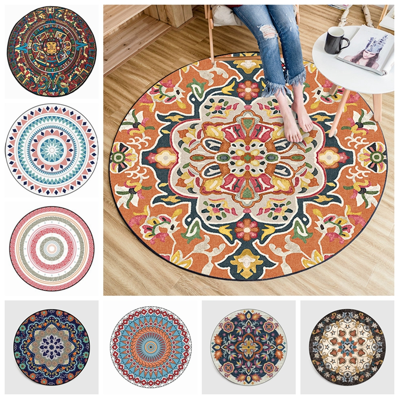Persian Style Round Carpets For Living Room Bedroom Rugs And Carpets Classic Flower Decor Floor Mat Study Coffee Table Area Rugs