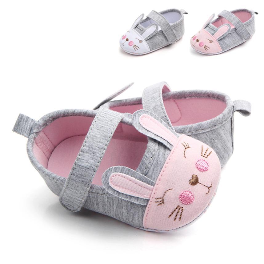 Baby Girl Shoes Fashion  Newborn Baby Cartoon Sneaker Rabbit Stitchwork Anti-slip Single Shoes Sneaker   Uk  M12
