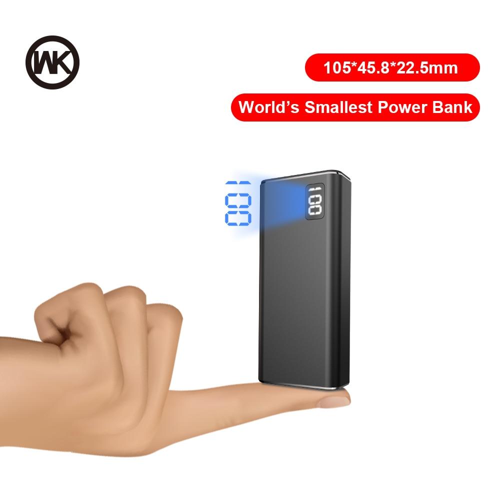 WK 3 вход 2USB мини банк питания 10000 мАч Металл портативное зарядное устройство 10000 мАч банк питания для iPhone Xiaomi Внешний аккумулятор повербанк