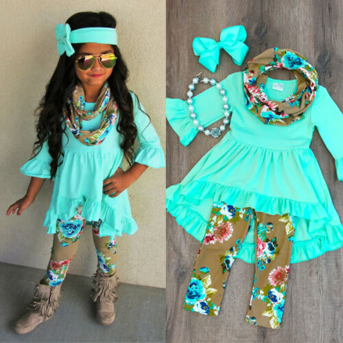 2019 New Arrival Boutique Toddler Kids Baby Girl Solid Color Top Dress Floral Printed Pants Legging Outfit Clothes(China)