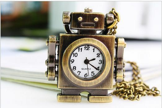 10 Pcs/lot Vintage Antiques Bronze Cartoon Robot Necklace Quartz Pocket Watches Pendant Kisd Gift Watches