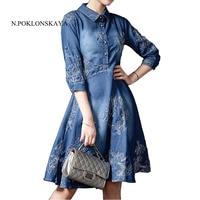 Newest Autumn Winter Women Denim Dress Plus Size Ladies Embroidery Half Sleeve Party Dresses Elegant Blue