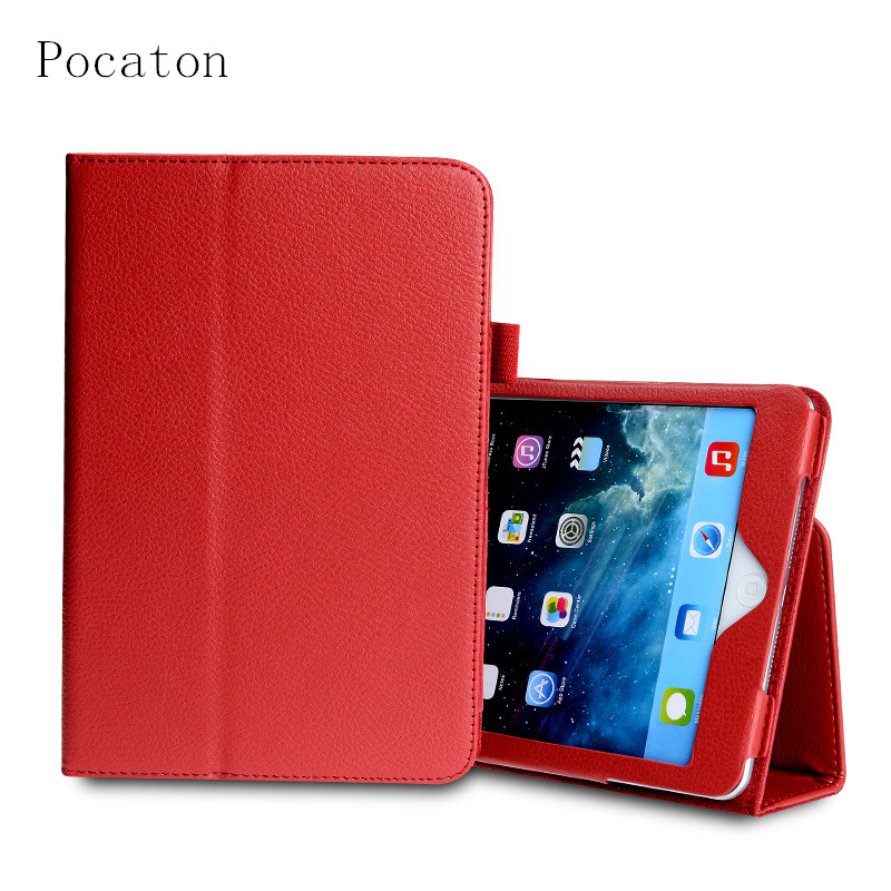 Pocaton For Mini Retro Luxury Flip Stand Leather Case for iPad Mini 1 2 3 Retina Fashion Full Protect Book Pad Cover+ film