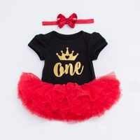 YK & Loving Estate ragazza vestiti del bambino set 0-2 anni i bambini nero manica corta brithday partito abito rosso di un due oro primario corona