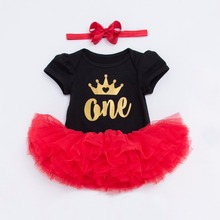 YK&Loving Summer girl baby clothing set 0-2 year kids black short sleeve brithday party primary red dress one two gold crown