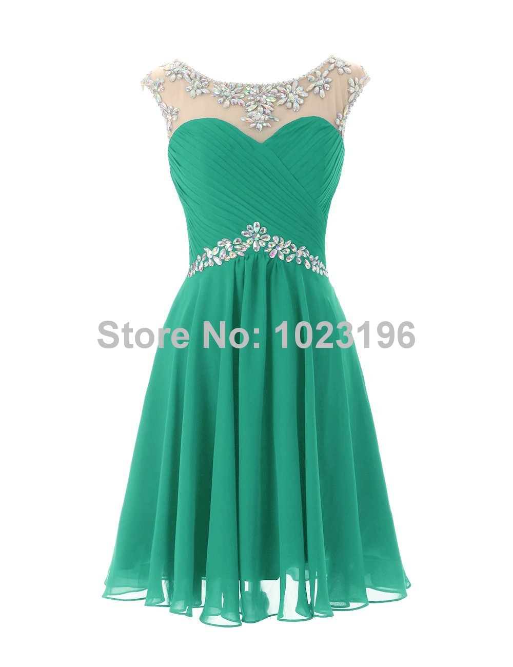 2017 Hot Sexy Short Mint Green Royal Crystal Chiffon Prom Dress ...