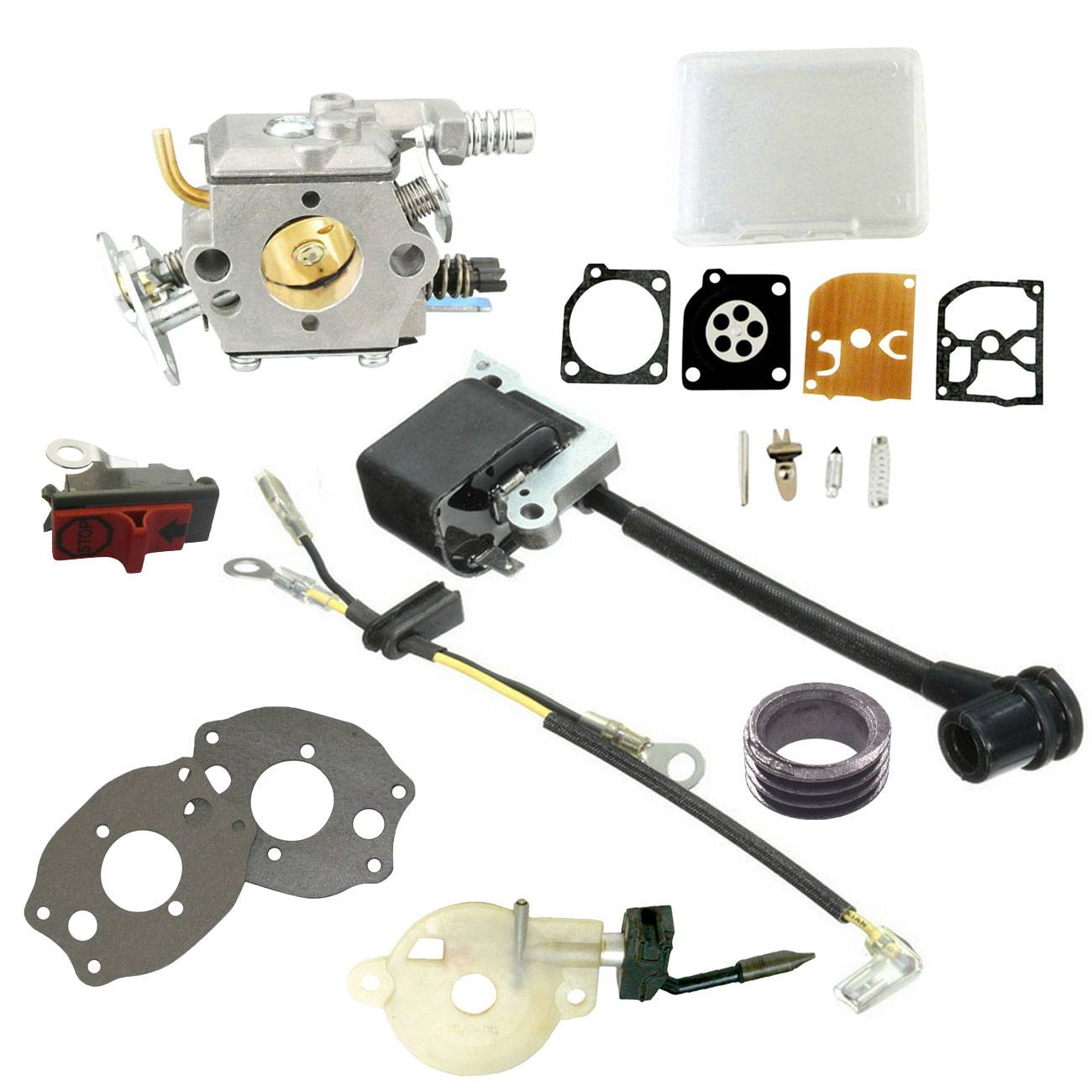 Carburetor & Ignition Coil &Oil Pump Kit for Husqvarna 41 136 137 141 142 chainsaw module ignition coil wire kit for husqvarna 36 41 136 137 141 142 chainsaw 530039239