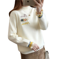 Autumn Winter Women Half Turtleneck Sweater Casual Pullover Thicken Warm Embroidery Butterfly Sleeve Knitted Sweaters PW1105