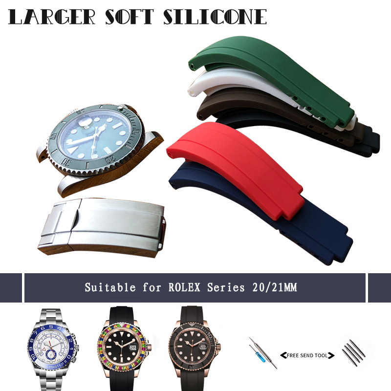 20mm 21mm Silicone Rubber Watchband New Combination Buckle Watch Strap Suitable for Role Submariner Daytona GMT OYSTERFLEX Watch20mm 21mm Silicone Rubber Watchband New Combination Buckle Watch Strap Suitable for Role Submariner Daytona GMT OYSTERFLEX Watch