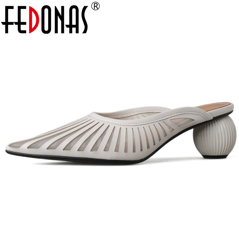 FEDONAS 2019 New Mules Shoes Women Strange High Heels Pointed Toe Party Wedding Shoes Woman Sexy