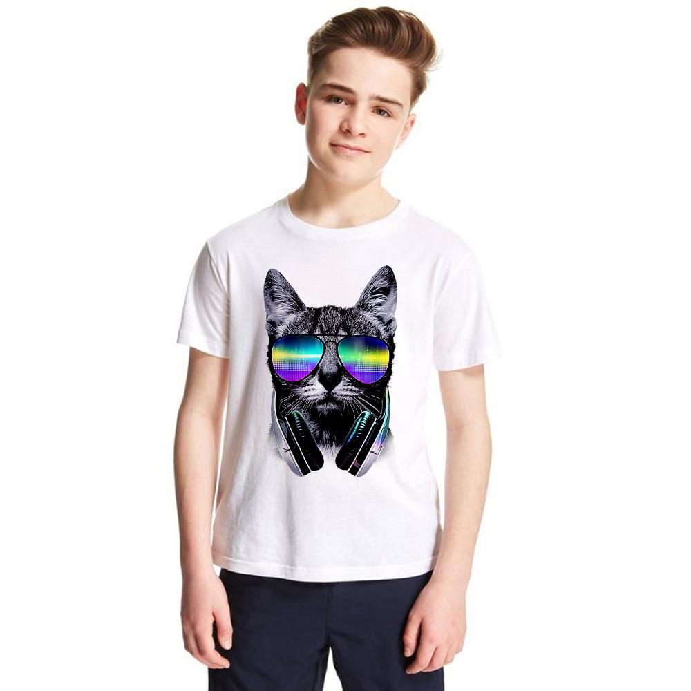 Fashion Kids Dj Cat T Shirt Children Cat Lover T-shirt Boys Girls Dj Cat with Sunglass Tshirt Music Tees Summer Cool Tops