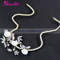 Amelie Wedding Belts Styles Beaded Chain Rhinestone Diamonds and Flower Side Charm Headband Forhead Bride Hair Ornaments