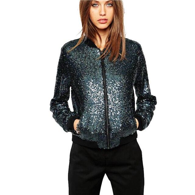 ac2f34d95 US $36.93  Dark Blue Sequin Baseball Short Bomber Jacket Casual Women Cool  Outerwear Female Autumn Casual Jacket Streetwear-in Basic Jackets from ...