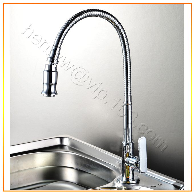 L15067 Luxury Wall and Deck Mounted Brass Sink Cold Tap Silver Color 360 Degree Sprayer of