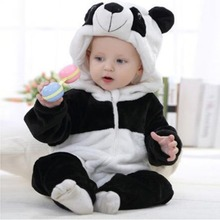Puseky 2017 Infant Romper Baby Boys Girls Jumpsuit Newborn Bebe Clothing Hooded Toddler Baby Clothes Cute Panda Romper Costumes(China)