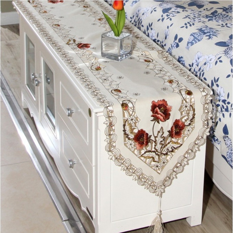 Delicate Embroidered Table Runner High Quality Polyester Decorative Cloth Flower Pattern Size 38 150 165 175 195 245 In Runners From Home