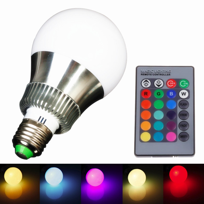 RGB E27 E14 5W/10W AC85-265V LED Bulb Lamp Remote Control Multiple Colour Lighting - XinJia store
