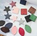 Nuevo Estilo Colorido de Madera de Impresión de Dibujos Animados Hojas/Cuadrado/Stars Forma maderas Sólidas Colgantes Del Collar de La Joyería/Pulsera/pendiente de accesorios