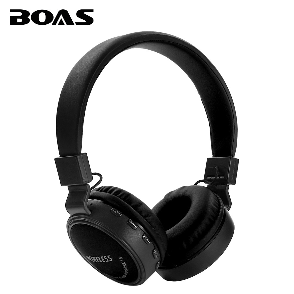 BOAS Bluetooth Wireless Headphone Support TF Card FM Radio Earphone Handsfree with Microphone Headset Earbuds for Iphone Samsung high quality 2016 universal wireless bluetooth headset handsfree earphone for iphone samsung jun22
