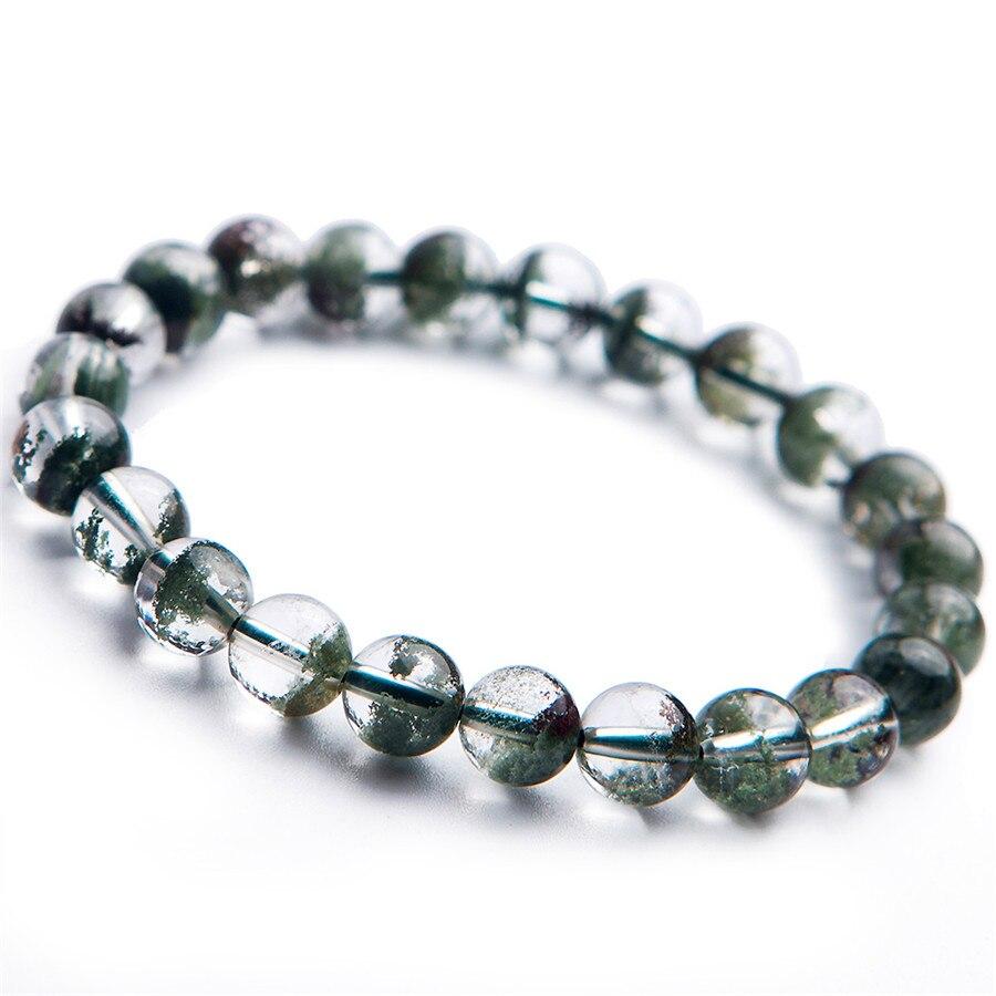 Livraison gratuite 8mm Bracelet en cristal naturel fantôme vert Quartz perles rondes Bracelet en cristal chanceux pierre naturelle énergie