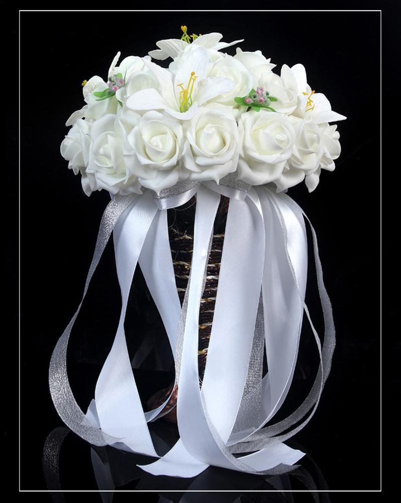 DIY Wedding Bridal Rose Lily Bouquet Bride Hand Holding Flower With Colorful Beads Ribbon wfd009