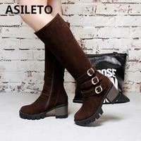 ASILETO buckle Knee boots Women Winter Boots female platform Zipper Long boot faux suede footwear botas feminina bottes S738
