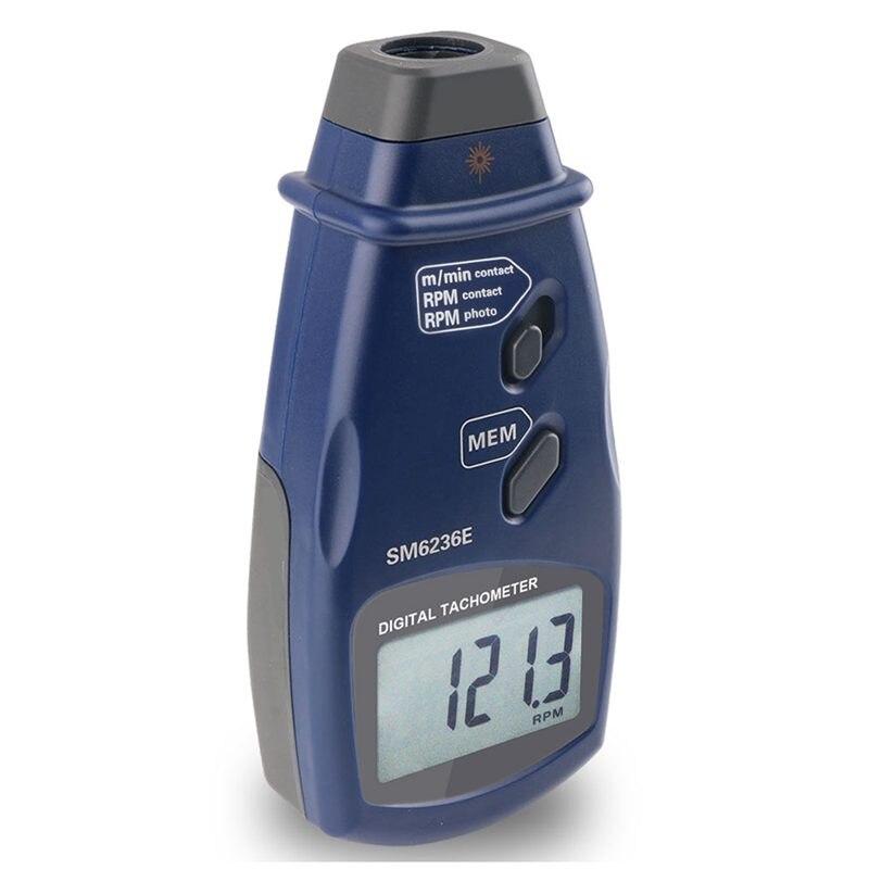SM6236E tachymètre numérique Laser sans contact LCD RPM vitesse de Rotation compteur vitesse de Surface de Contact (m/min) outils de mesure Tach