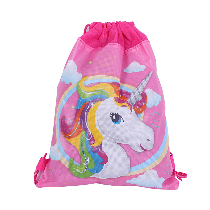 12pcs 34*27cm cute unicorn cartoon non-woven bag fabrics drawstring backpack,schoolbag gift bags