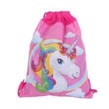 12pcs 34*27cm cute unicorn cartoon non-woven bag fabrics drawstring backpack,schoolbag gift bags