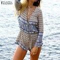 ZANZEA 2017 Boho Fashion Rompers Womens Jumpsuit Long Sleeve Bandage Lace Up V Neck Playsuits Sexy Floral Print Beach Bodysuit