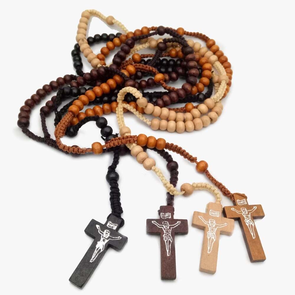 Колье ручной работы крест Распятие smqlivb деревянные четки свитер цепь религиозных Кристиан черный темно-коричневый светло-коричневый дерев...